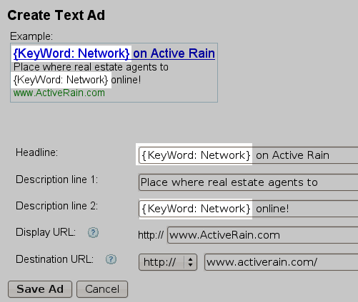 AdWords Dynamic Keyword Insertion